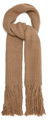 Joseph Fringed Ribbed Wool Blend Scarf - Womens - Camel