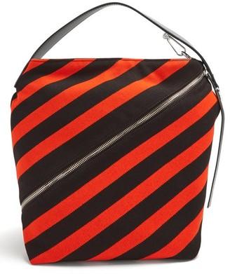 Proenza Schouler Hobo Medium Striped-knit Bag - Womens - Black Red