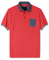 Sean John Short Sleeve Shirt Big and Tall, Chambray Trim Polo