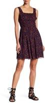 Anna Sui Pansy Print Crinkle Silk Tank Dress