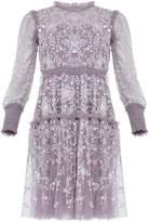 Needle & Thread Whitehorn-Embellished Sheer Mini Dress
