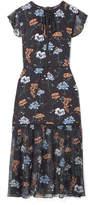Markus Lupfer Belle Floral-print Silk Crepe De Chine And Chiffon Midi Dress - Black