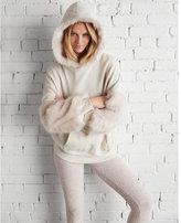 Express petite faux fur trim hooded sweatshirt