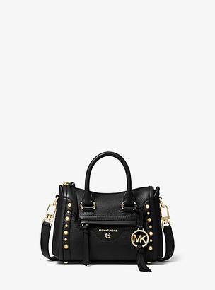 MICHAEL Michael Kors MK Carine Extra-Small Studded Pebbled Leather Crossbody Bag - Black - Michael Kors