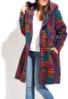 Everest Purple Stripe Wool-Blend Peacoat