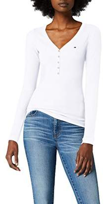 Tommy Jeans Women's Original Rib Henley Long Sleeve Button Front T-Shirt,XX-Small