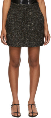 Tibi Black and Multicolor Recycled Tweed High-Waisted Miniskirt