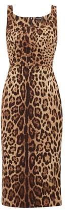Dolce & Gabbana Leopard-print Silk-blend Crepe Midi Dress - Womens - Leopard