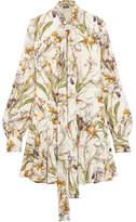 Alexander McQueen Pussy-bow Floral-print Silk Crepe De Chine Mini Dress