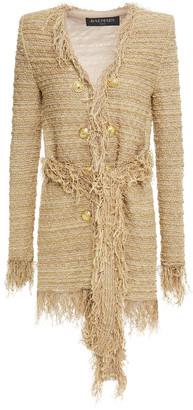 Balmain Fringed Metallic Tweed Jacket