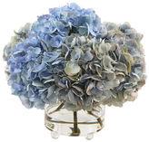 Winward Silks 15 Hydrangea in Glass Vase, Blue