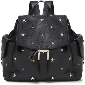 Red(V) Studded Pebbled-leather Backpack