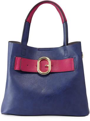 Neiman Marcus Clara Faux Leather Buckle Satchel Bag