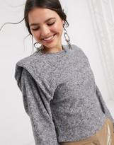 Bershka exaggerated shoulder top in gray