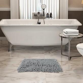 "Freshmint Chenille Bath Mat light grey 16.5X24"""