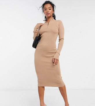 4th + Reckless Petite half zip midi dress in camel