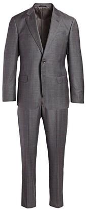Giorgio Armani Single-Breasted Plaid Wool Suit