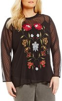 Chelsea & Theodore Plus Swiss Dot Embroidered Blouse