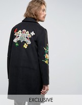 Reclaimed Vintage Overcoat With Floral Patches And Back Patch