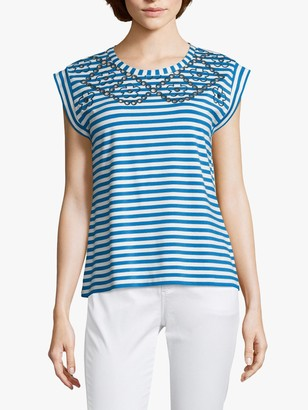 Betty Barclay Striped Cut Out Cap Sleeve Top, Blue/White