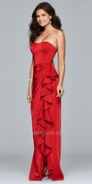 Faviana Strapless Side Ruffle Evening Dress