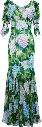 Dolce & Gabbana Fluted Floral-print Silk-blend Chiffon Gown