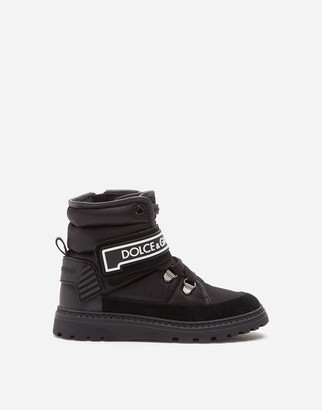 Dolce & Gabbana Nylon And Split Leather Ankle Boots With Logo
