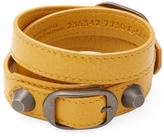 Balenciaga Classic Buckle Leather Wrap Bracelet