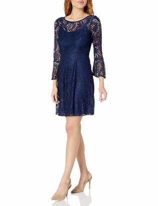 Sandra Darren Women's 1 Pc Long Bell Sleeve Lace Fit & Flare Dress