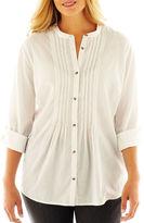 JCPenney St. John's Bay Denim Pintuck Shirt - Plus