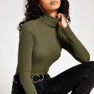 River Island Womens Khaki long sleeve roll neck ribbed top