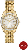 Citizen Eco-Drive Silhouette Crystal White Dial Gold Tone Stainless Steel Bracelet Ladies Watch