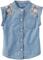 Carter's Toddler Girl Embroidered Denim Shirt