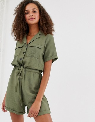 New Look romper with drawstring waist in green