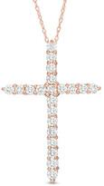 Zales 1 CT. T.W. Diamond Cross Pendant in 14K Rose Gold