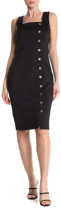 Modern American Designer Square Neck Side Button Detail Sheath Dress