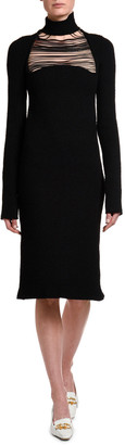 Bottega Veneta Silk Sable Chain-Yoke Turtleneck Dress