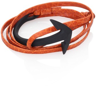 Miansai Brass & Leather Noir Anchor Cuff Bracelet
