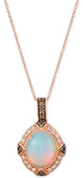"LeVian Le Vian Opal (2-1/5 ct. t.w.) & Diamond (3/8 ct. t.w.) 22"" Pendant Necklace in 14k Rose Gold"