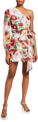 La Maison Talulah Garland One-Shoulder Floral Cocktail Dress