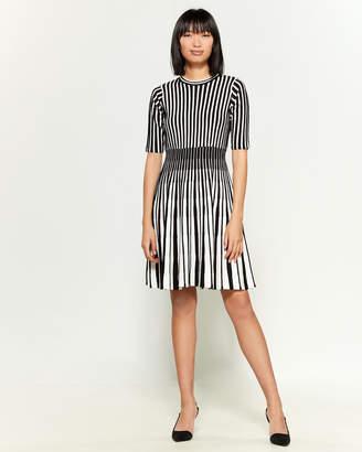 Nanette Lepore Nanette Elbow Sleeve Striped Fit & Flare Dress