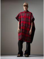Burberry Reversible Tartan Wool Cashmere Poncho