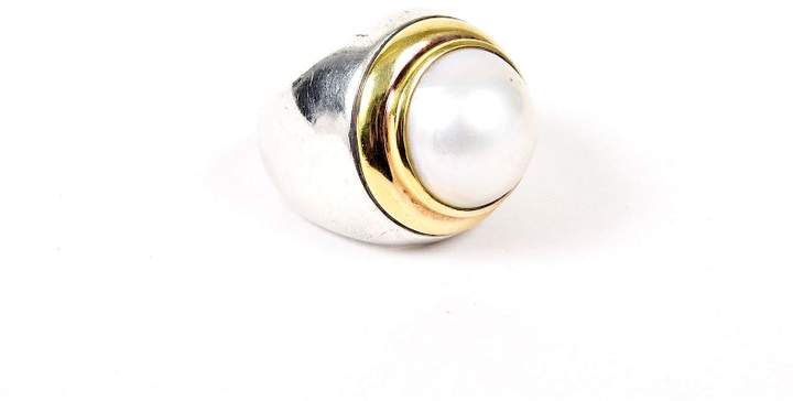 David Yurman 925 Sterling Silver & 18K Yellow Gold with Pearl Ring Size 5.5