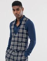 Devils Advocate skinny fit blue check suit waistcoat