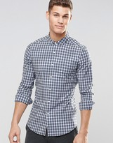 Asos Skinny Grid Check Shirt In Blue