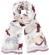 John Lewis Spotty Sausage Dog Scarf, Natural/Multi
