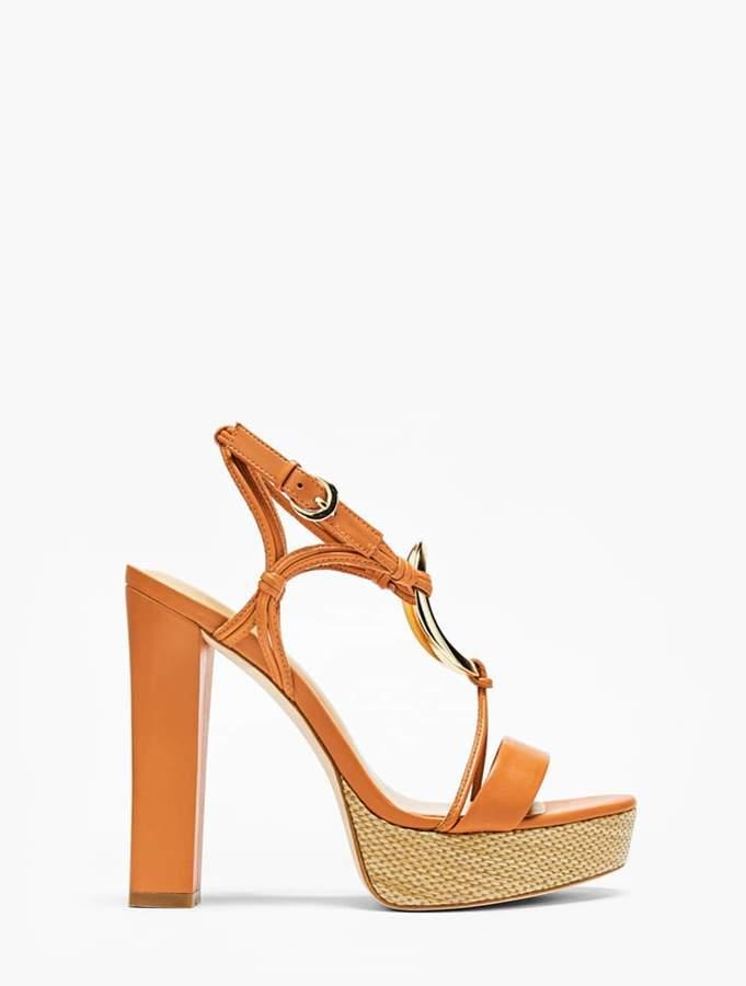 Halston Leona Leather Platform Sandal