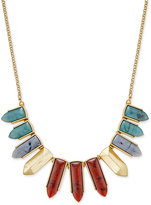 INC International Concepts Gold-Tone Multicolor Pointed Stone Bib Necklace, Only at Macy's
