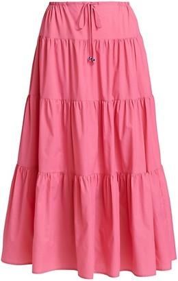 STAUD Lucca A-Line Midi Skirt