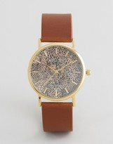 Reclaimed Vintage Leopard Leather Watch In Brown